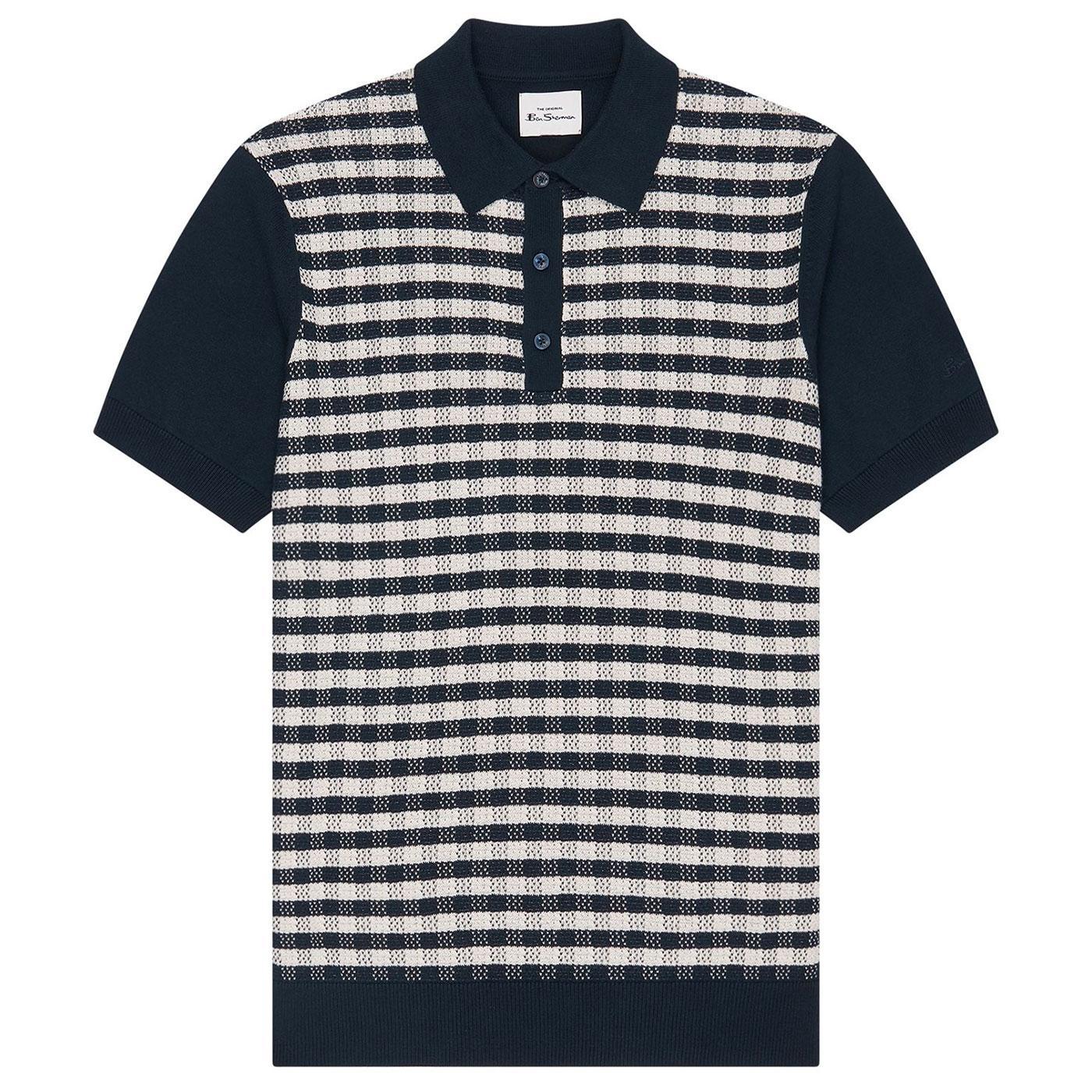 BEN SHERMAN Men's Mod Retro Gingham Jacquard Polo