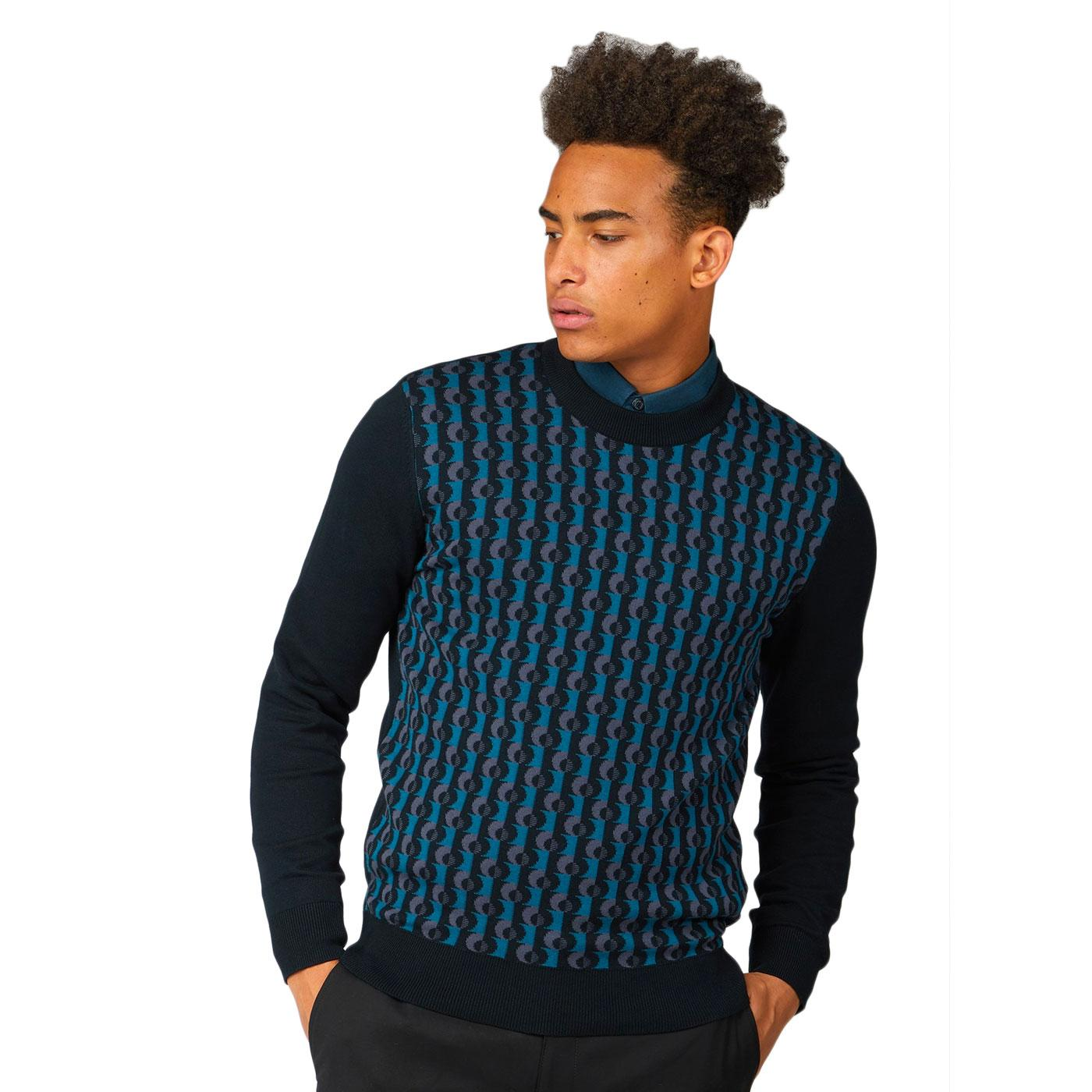 BEN SHERMAN Retro Mod Jacquard Sweatshirt