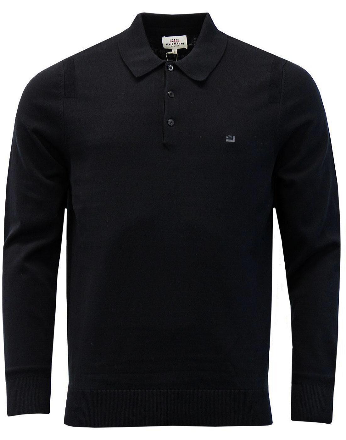 ben sherman men 39 s mod long sleeve knitted polo shirt in black. Black Bedroom Furniture Sets. Home Design Ideas