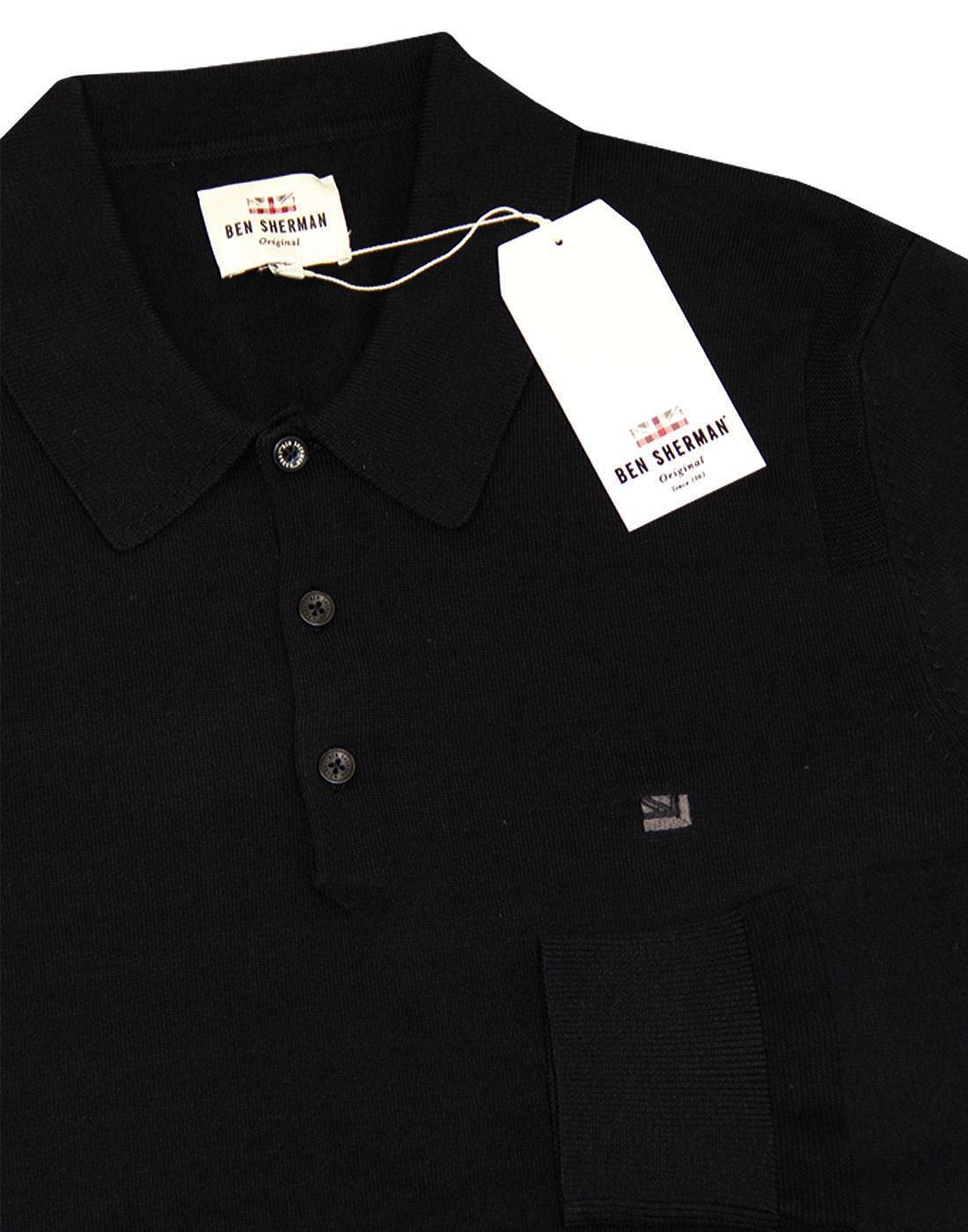 Long Sleeve Mens Ben Sherman Long Sleeve Knit Polo Shirt In Black Ribbed