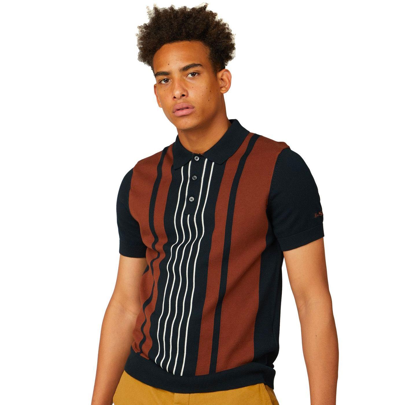 BEN SHERMAN Retro 1960s Knitted Mod Striped Polo B