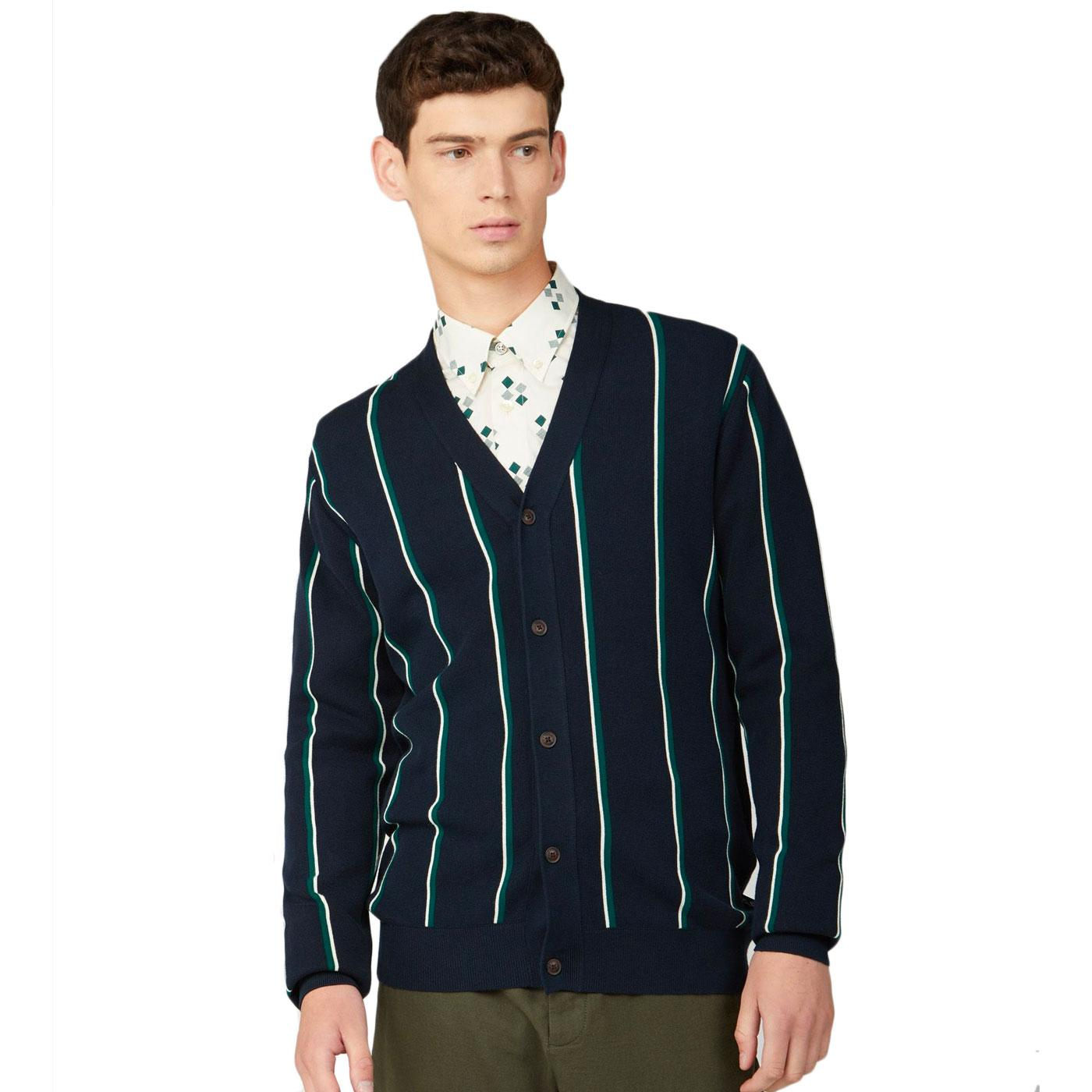 BEN SHERMAN Retro 60s Ivy League Striped Cardigan