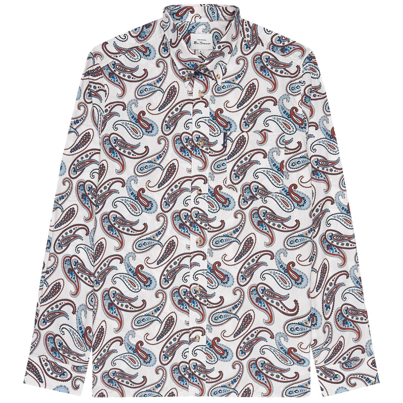 BEN SHERMAN Mod Large Paisley Print Shirt (Ivory)