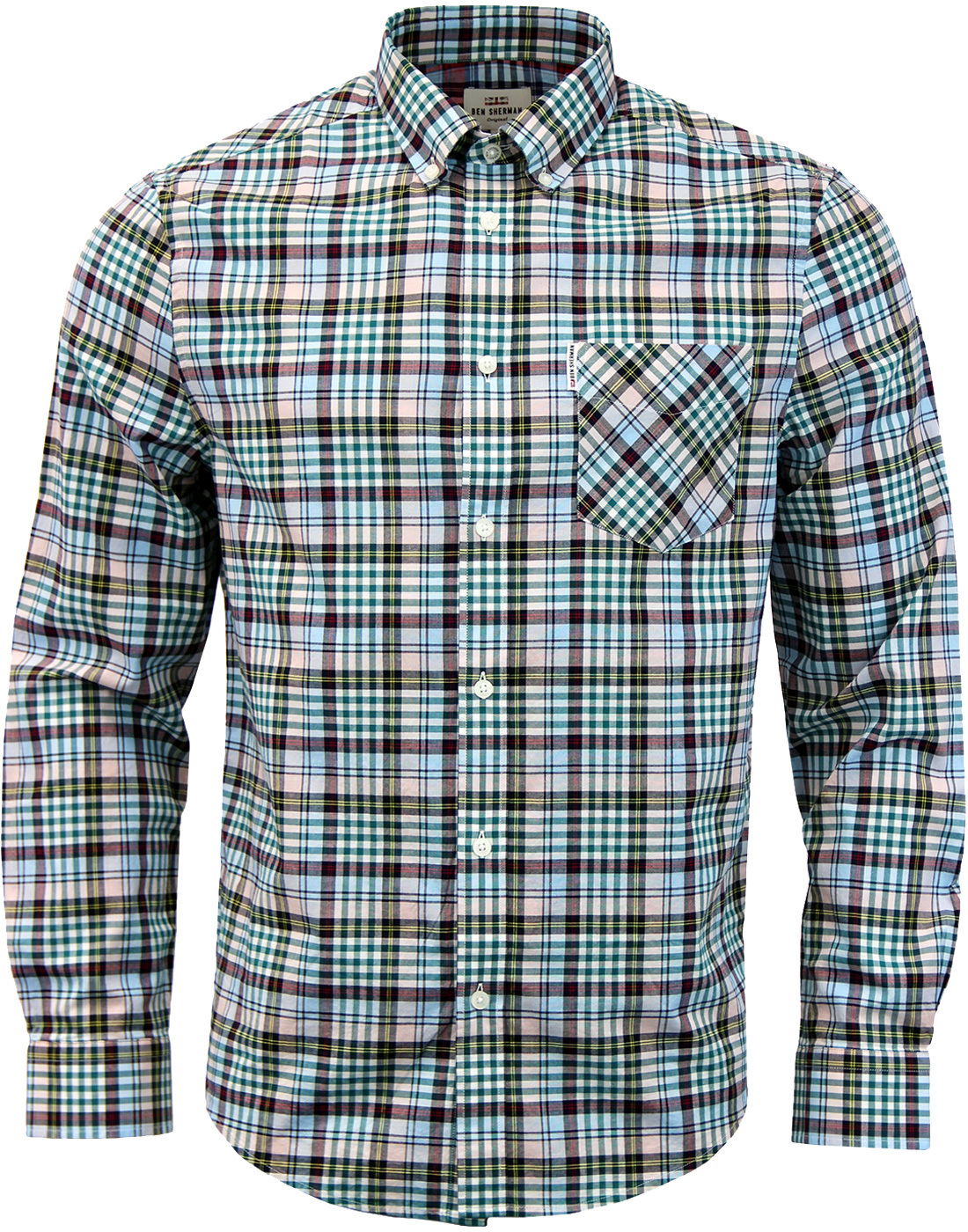 BEN SHERMAN 70s Gingham Tartan Check Shirt CHALK