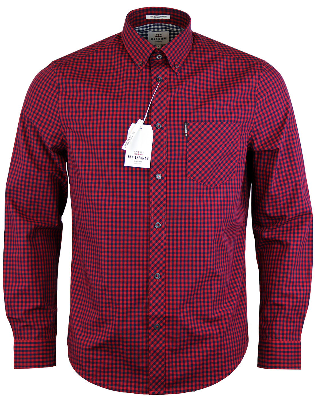 BEN SHERMAN Retro Mod 60s Gingham Shirt - Red