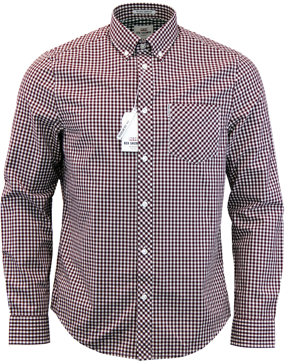 BEN SHERMAN Retro Mod 60s Gingham Shirt - Oxblood