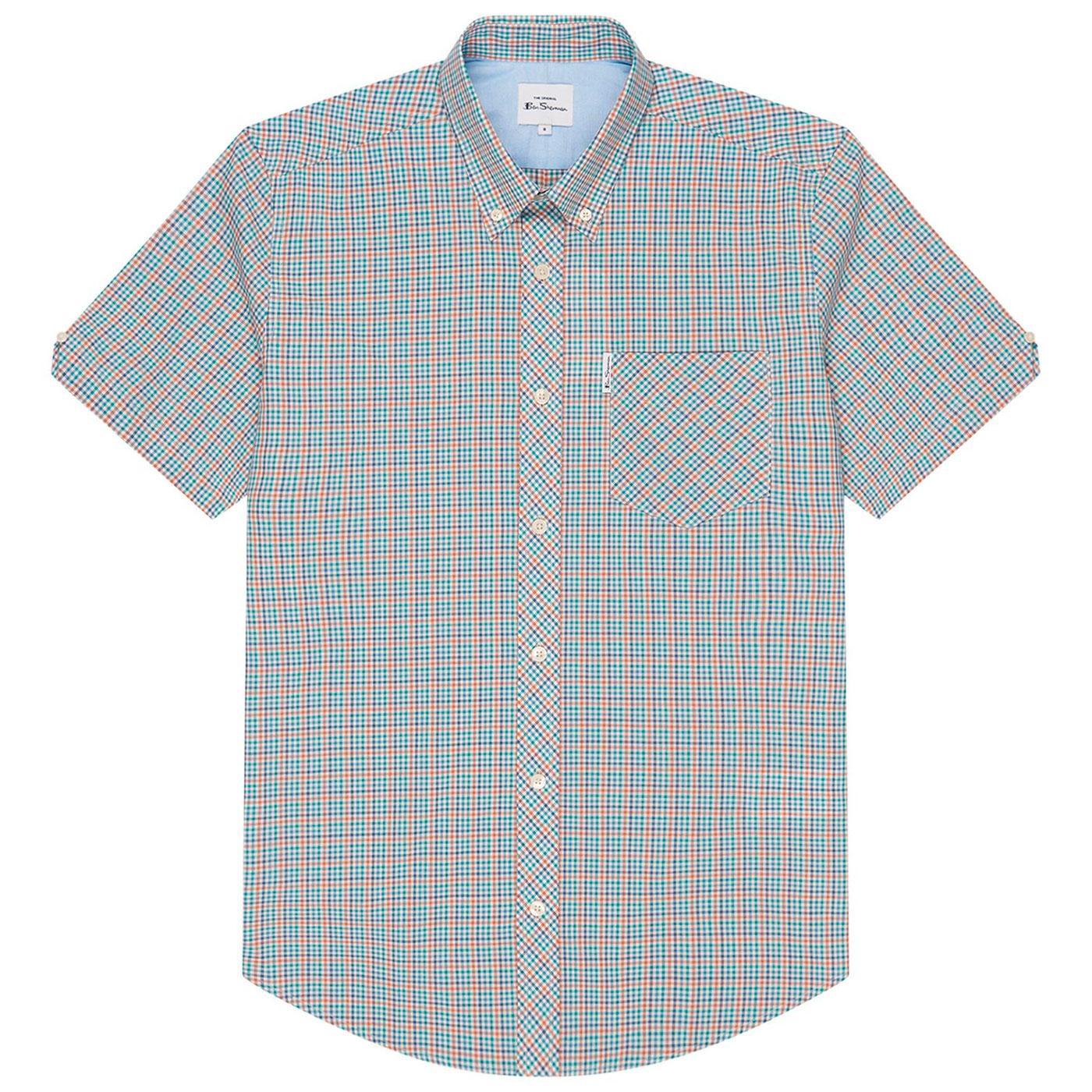 BEN SHERMAN Retro Mod Mini Gingham Check Shirt L