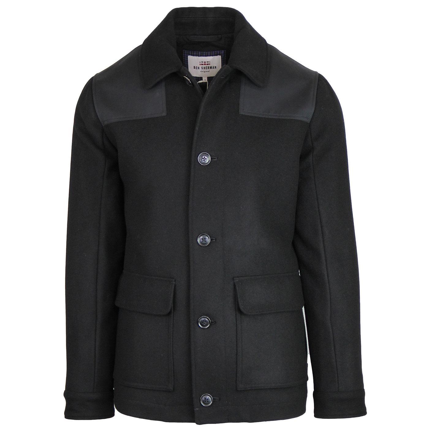 BEN SHERMAN Waxed Panel Melton Donkey Jacket BLACK