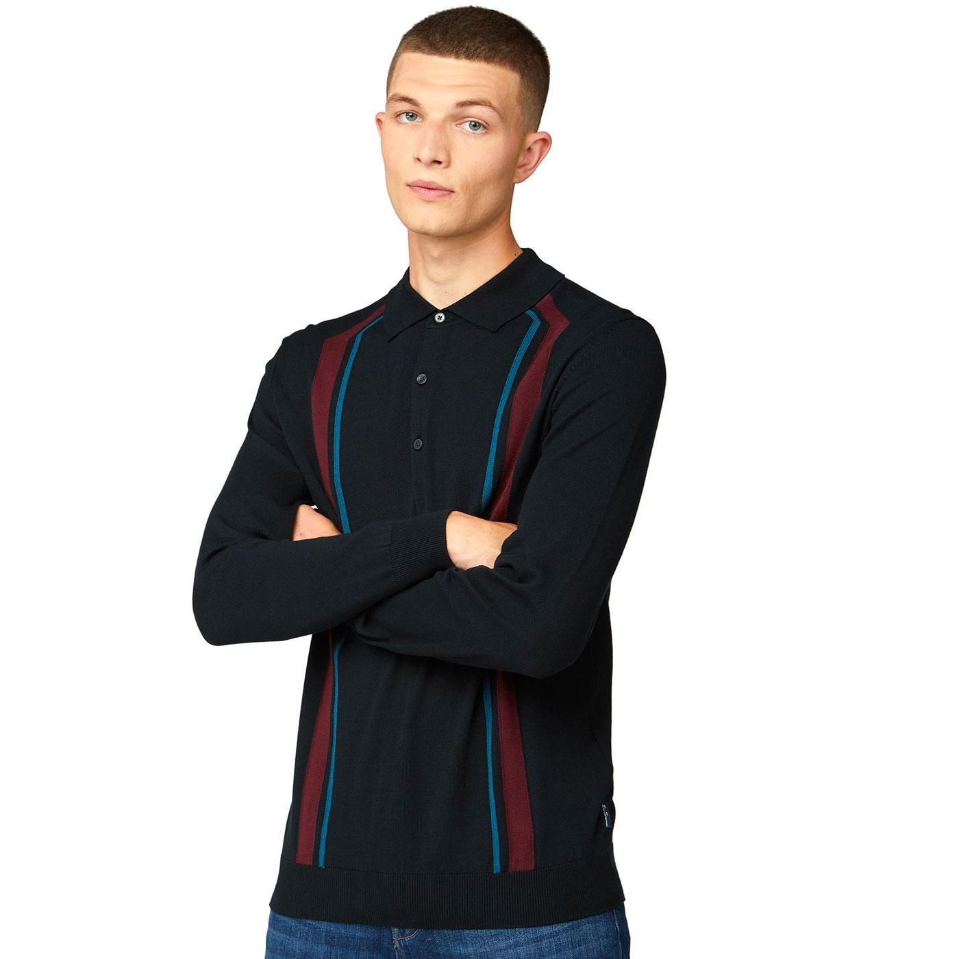 BEN SHERMAN Retro 1960s Long Sleeve Knitted Polo B