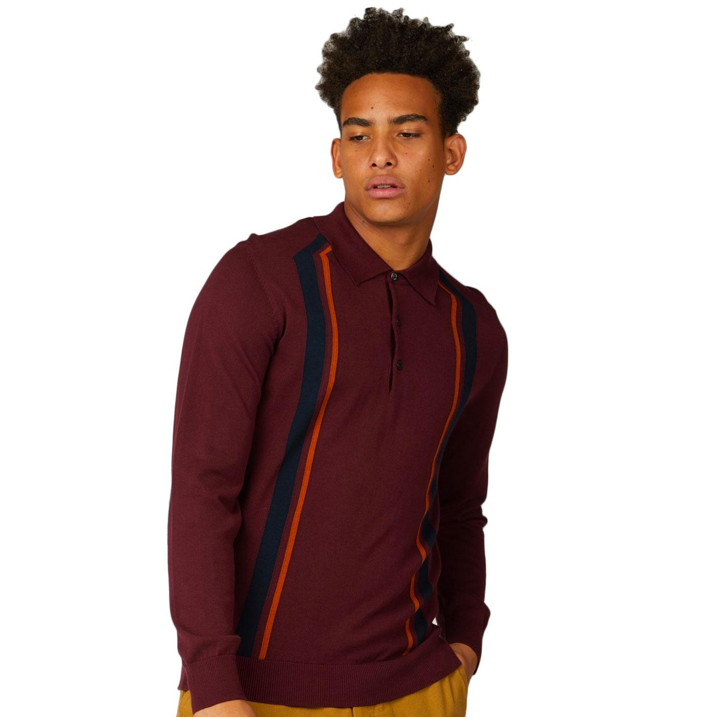 BEN SHERMAN Retro 1960s Long Sleeve Knitted Polo P