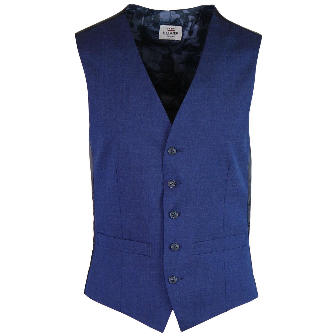 BEN SHERMAN Tailoring 60s Mod Tonic Waistcoat BLUE
