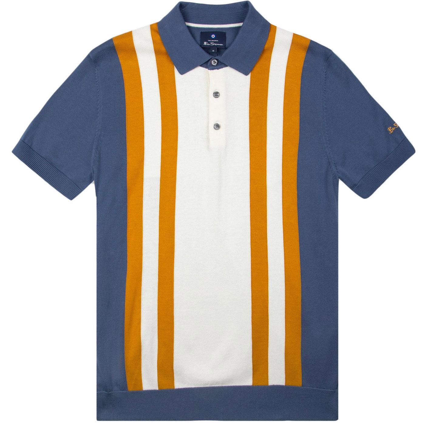 BEN SHERMAN 1960s Mod Stripe Knit Polo Shirt (LI)