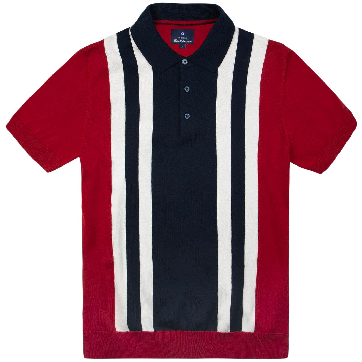 BEN SHERMAN 60s Mod Stripe Knit Polo Shirt (Red)