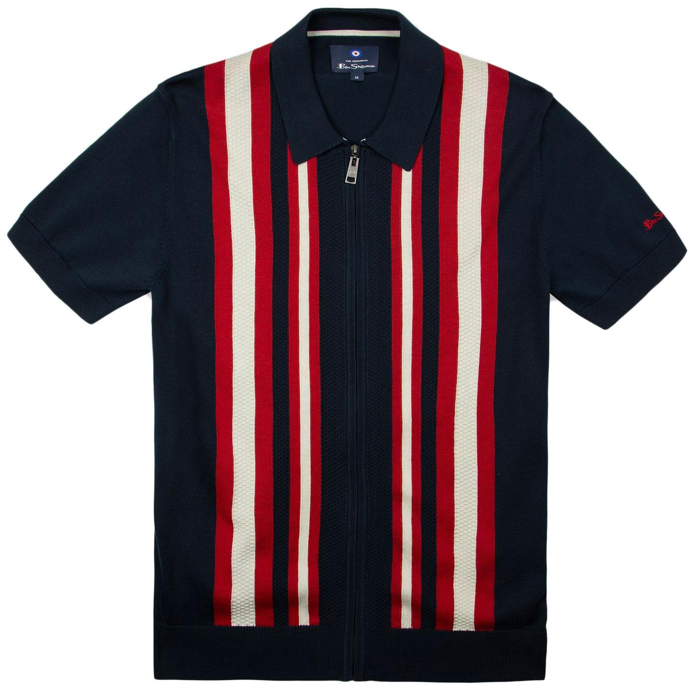 BEN SHERMAN Mod Textured Stripe Zip Thru Knit Polo