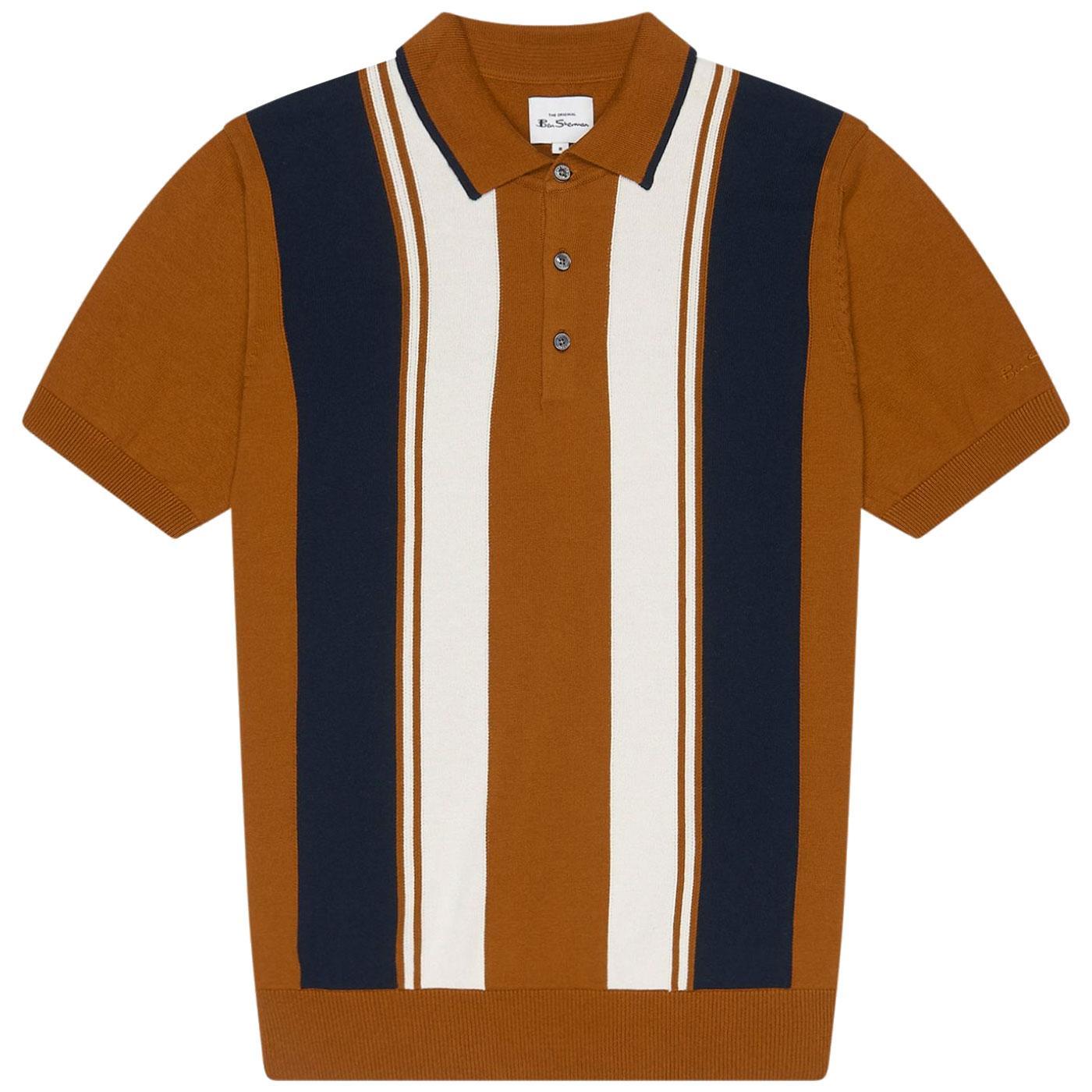 BEN SHERMAN Retro Knitted Mod Stripe Polo Shirt C