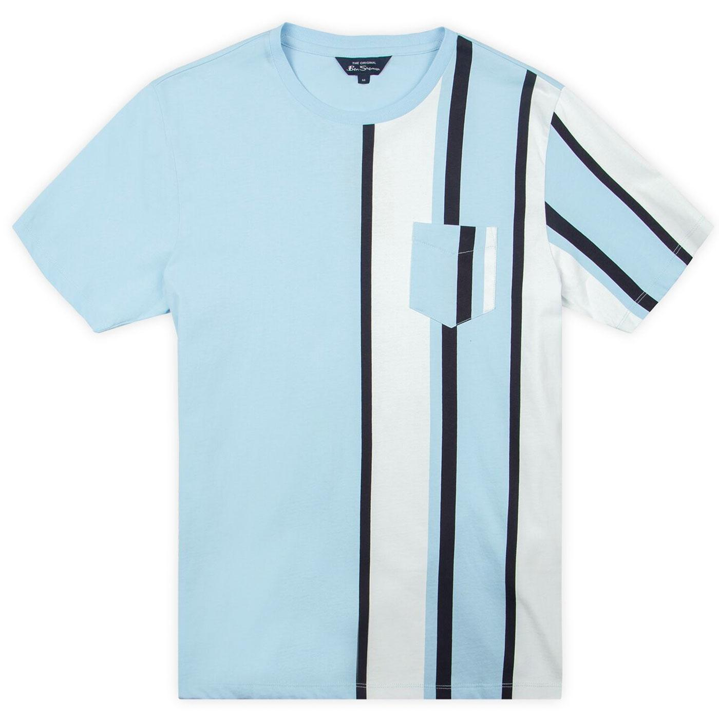 BEN SHERMAN Mod Vertical Stripe Pocket Tee (Sky)