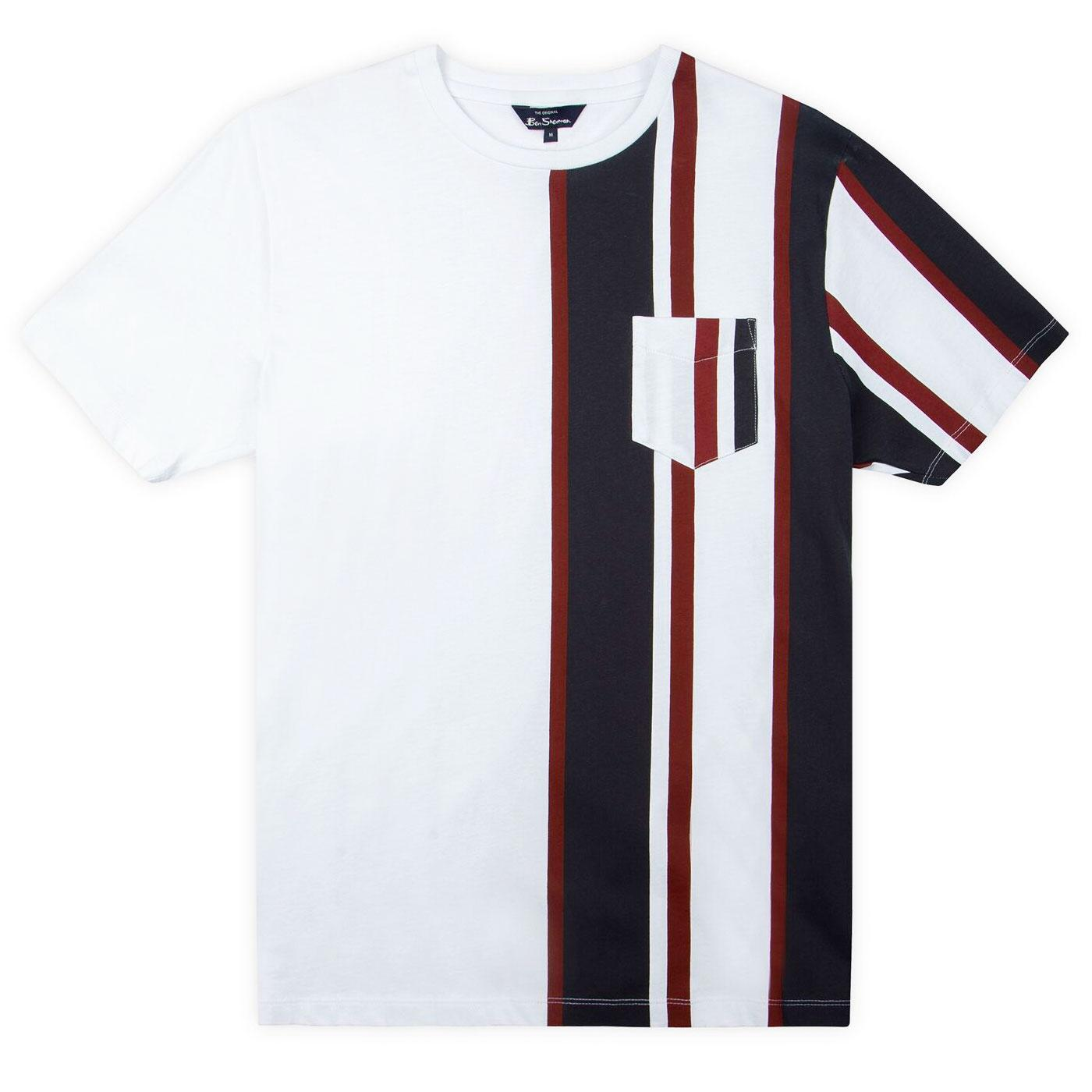 BEN SHERMAN Mod Vertical Stripe Pocket Tee (White)