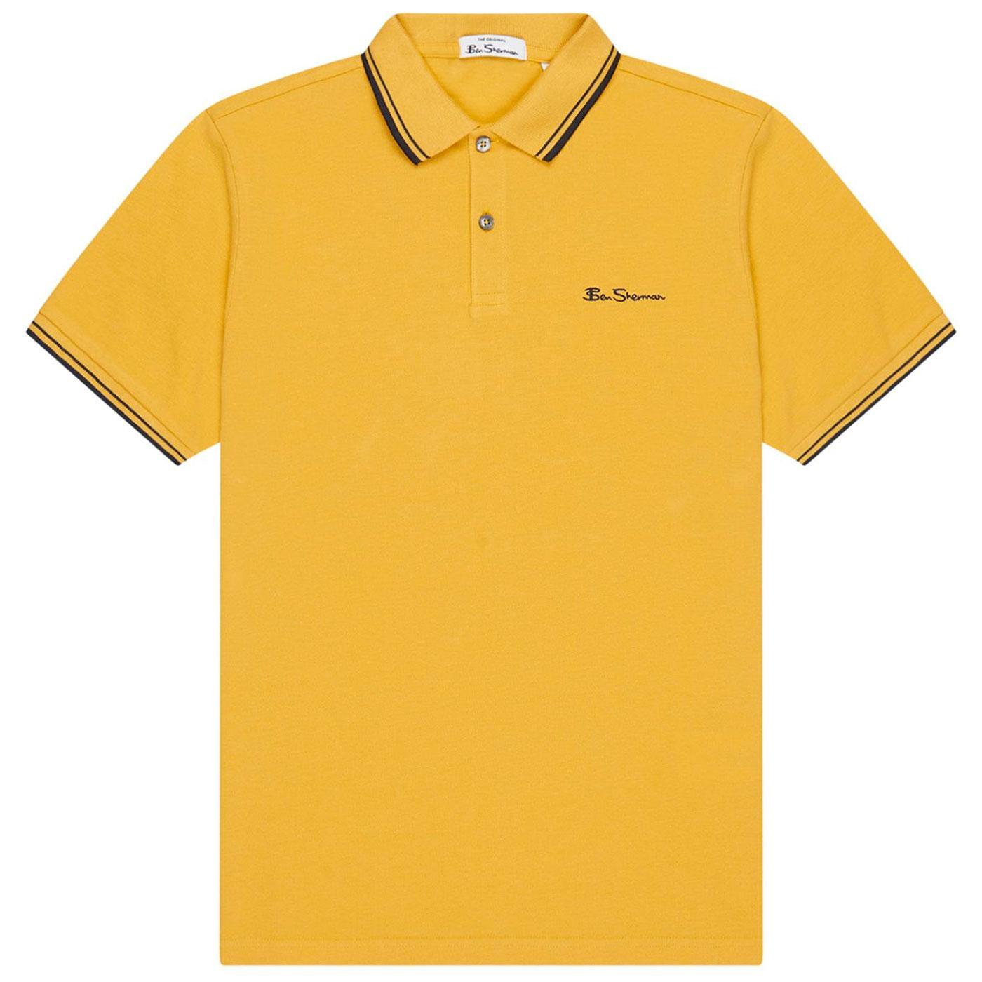 BEN SHERMAN Signature Mod Tipped Pique Polo Yellow