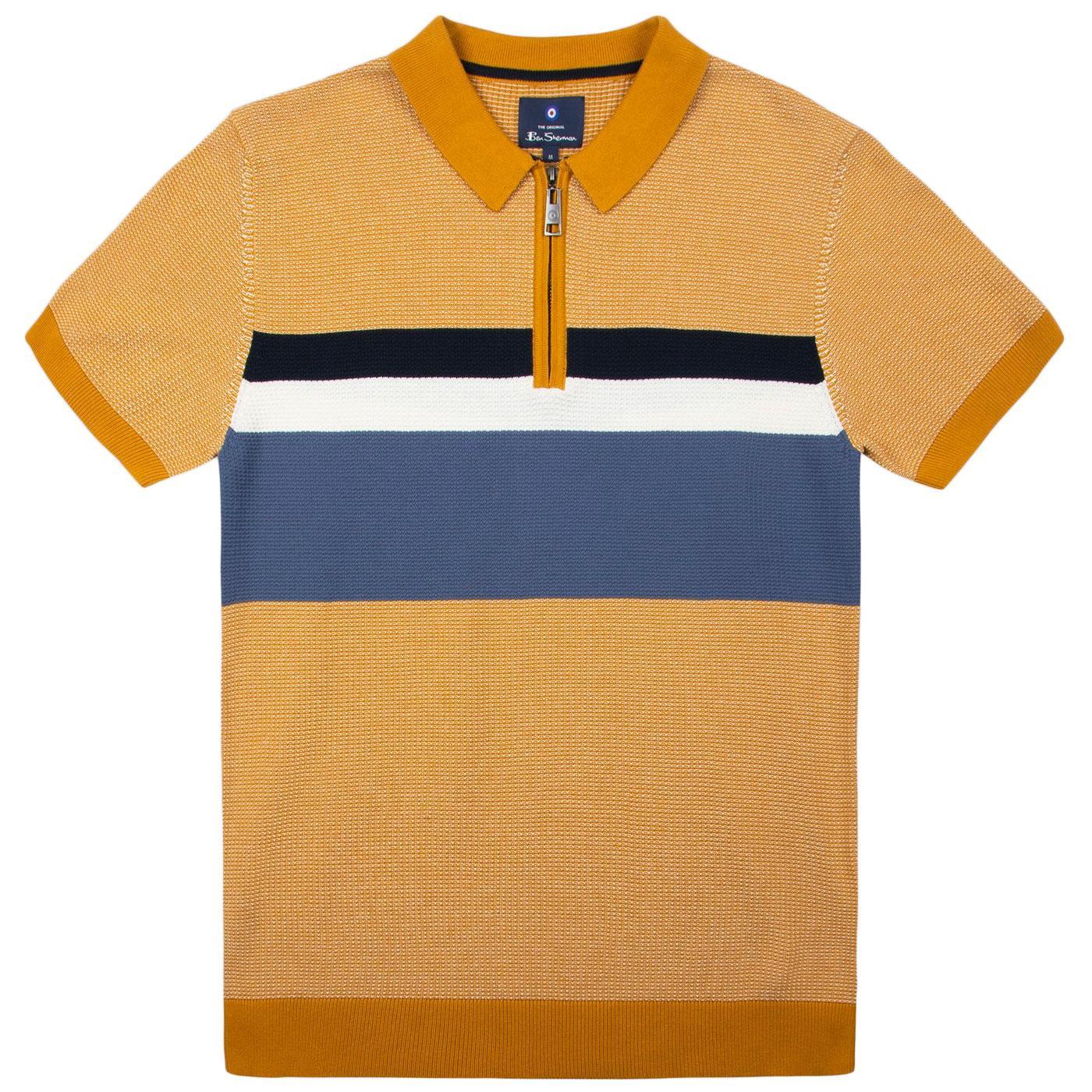 BEN SHERMAN Mod Waffle Chest Stripe Knit Polo (D)