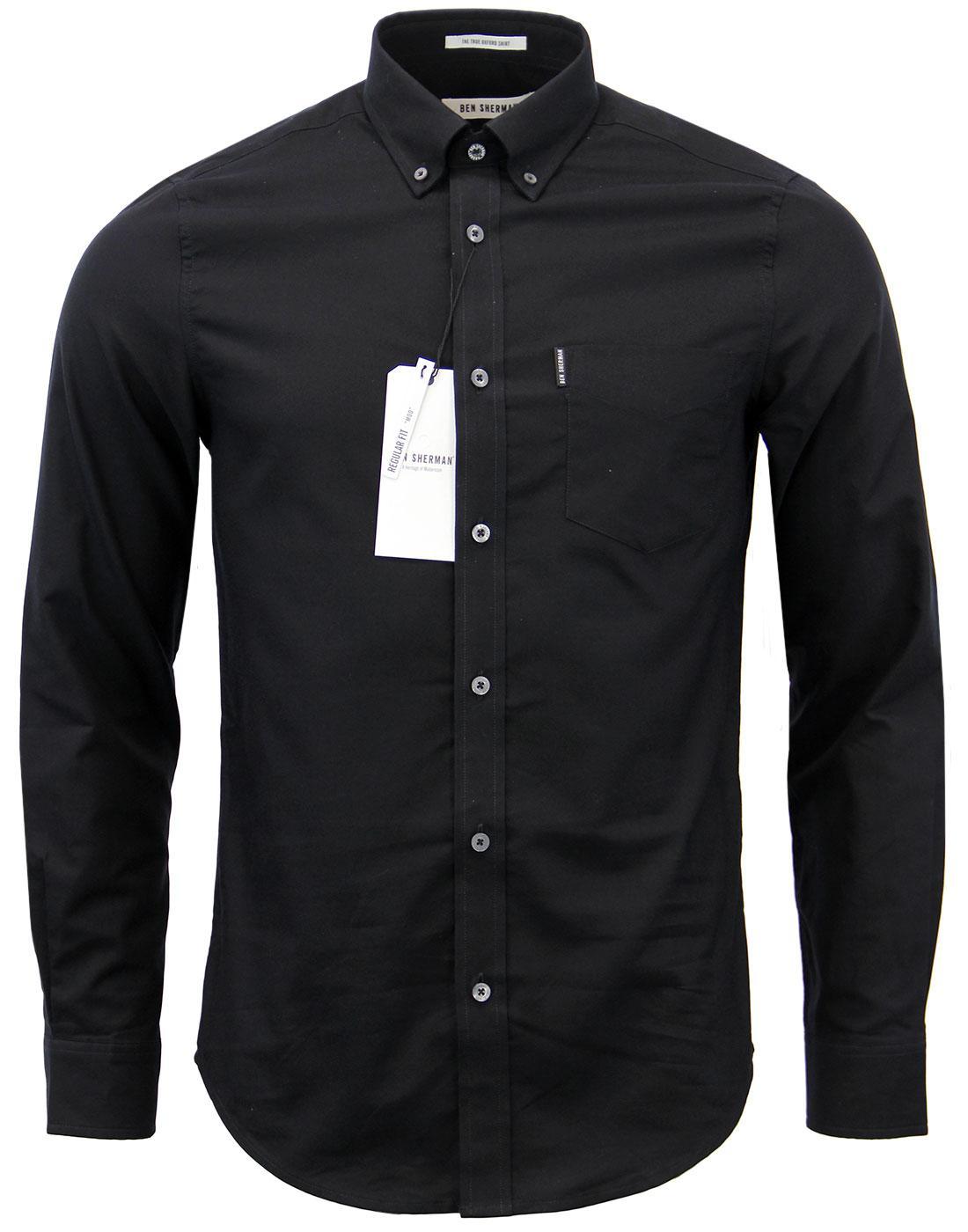Ben sherman retro mod button down ivy league oxford shirt for Black oxford button down shirt