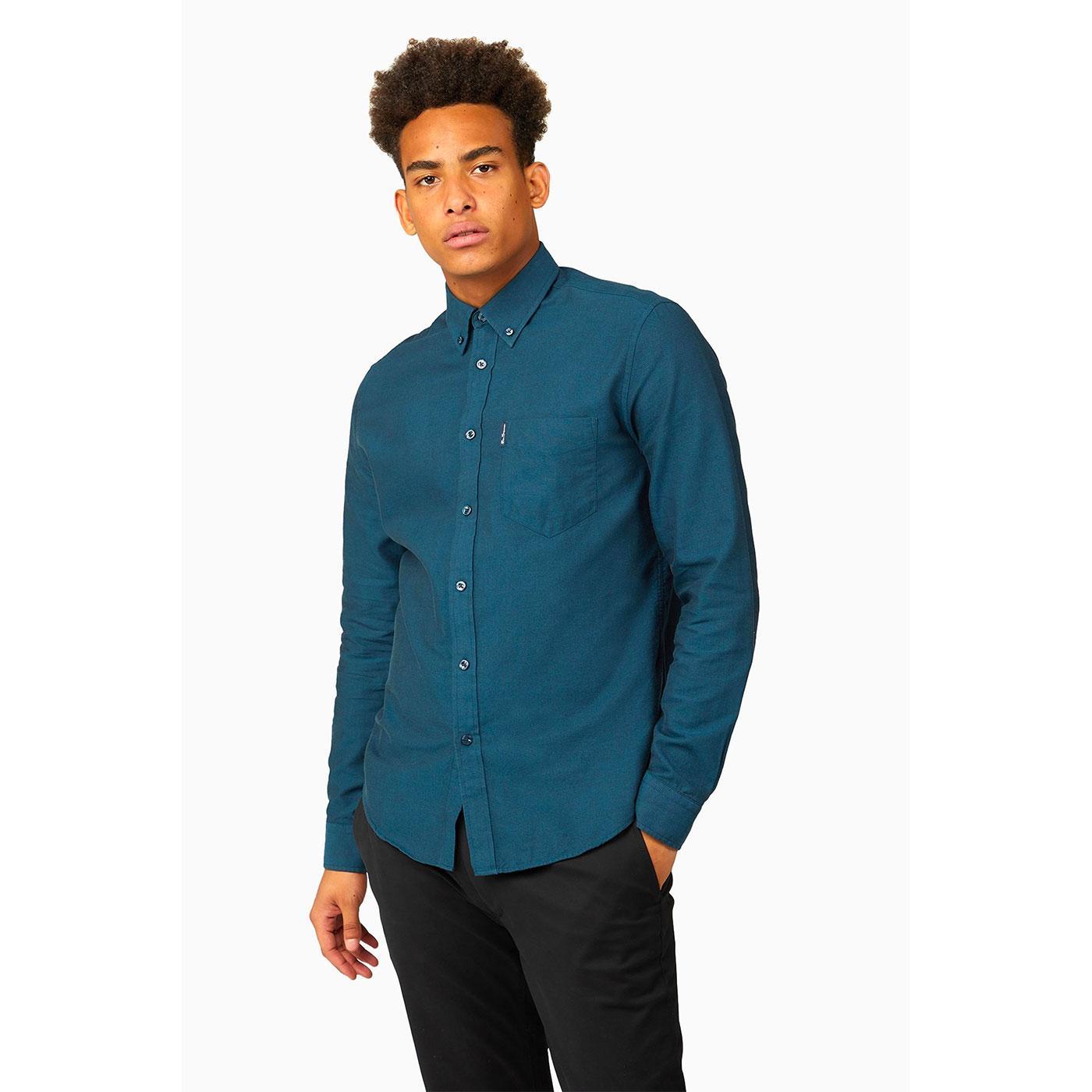 BEN SHERMAN Mod Button Down Oxford Shirt (Sea)