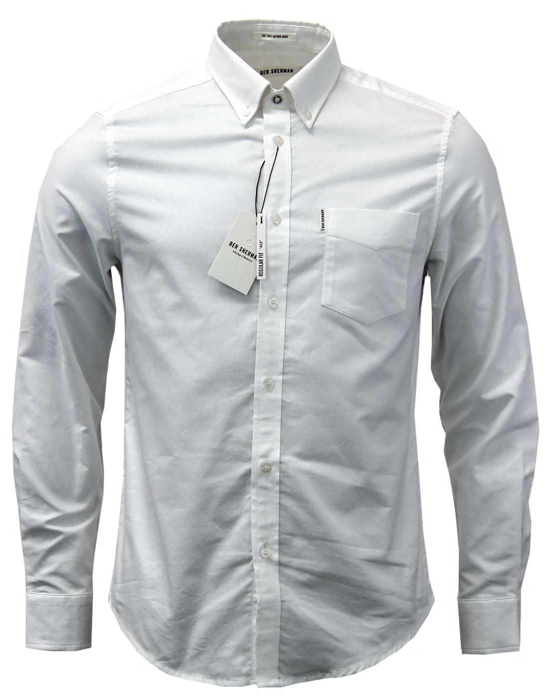 Ben sherman retro mod button down ivy league oxford shirt for White button down collar oxford shirt