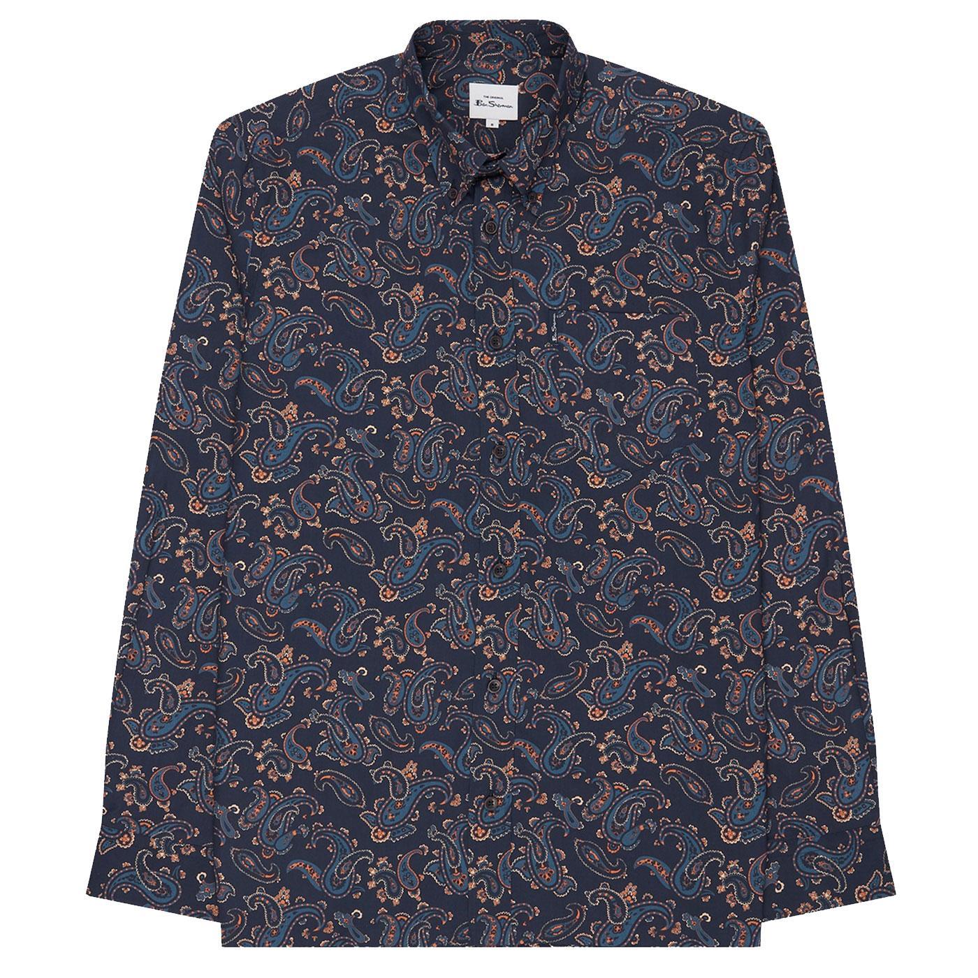 BEN SHERMAN 60's Mod Large Paisley Shirt - Marine