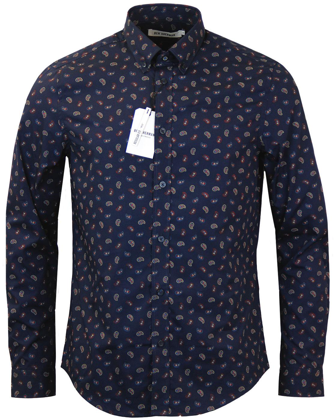 BEN SHERMAN Retro Mod Scattered Paisley Shirt (N)