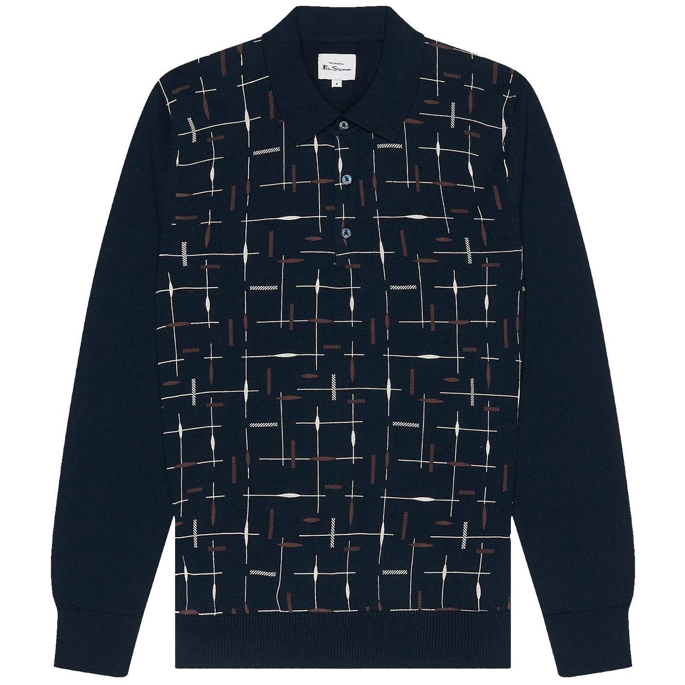 BEN SHERMAN Pattern Print Knitted Mod Polo Shirt