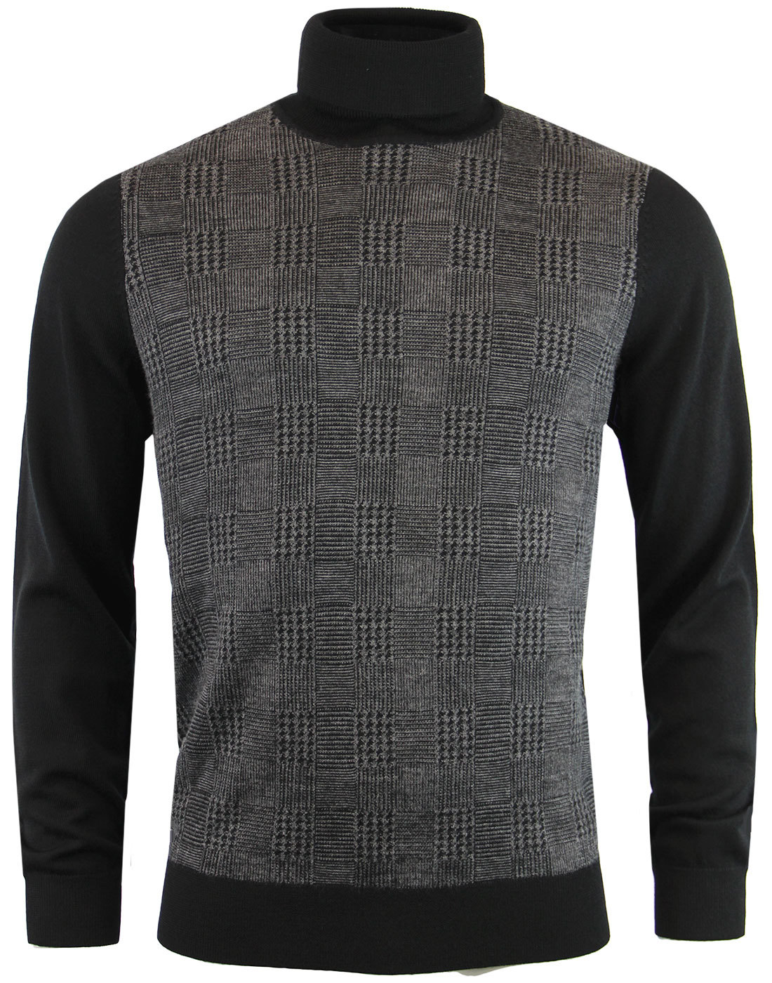 BEN SHERMAN Dogtooth POW Check Roll Neck Jumper