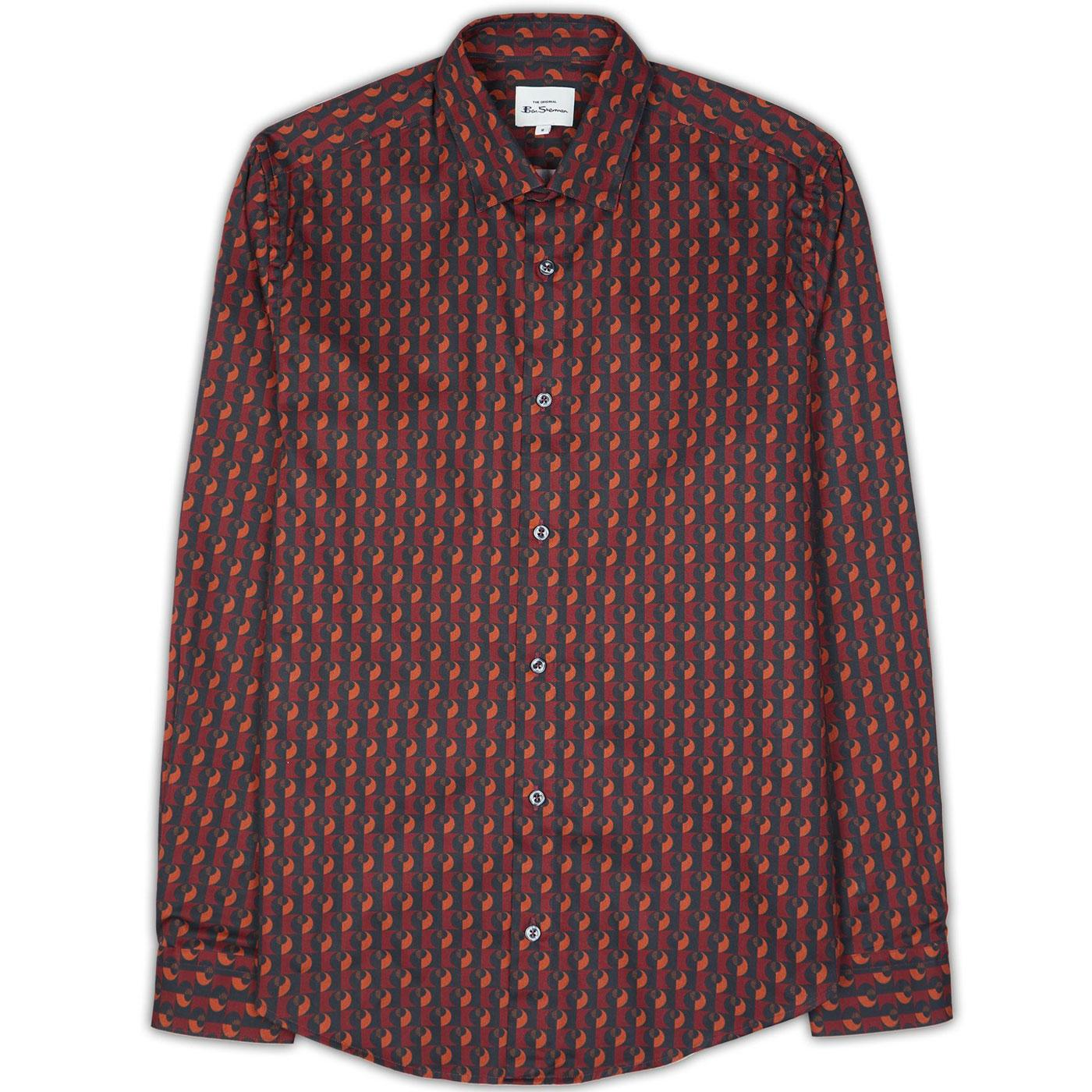 BEN SHERMAN Men's Mod Retro Digi Print Shirt -Gold