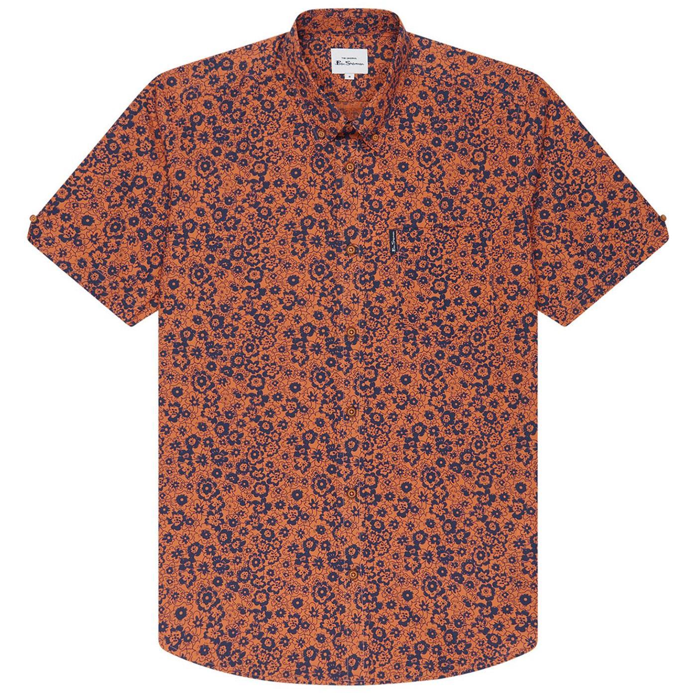 BEN SHERMAN Retro 70s Floral Summer Shirt - Anise