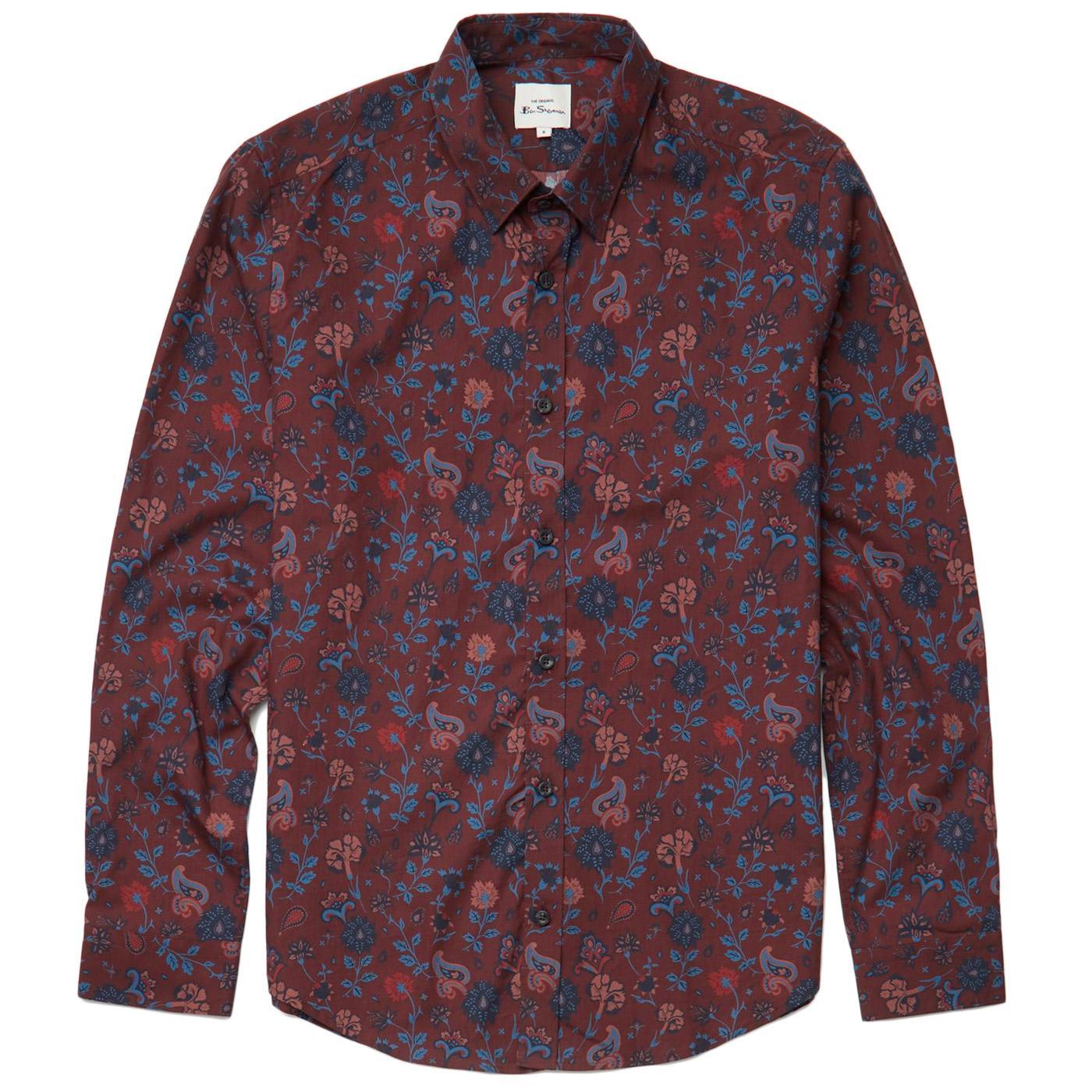 Retro Floral BEN SHERMAN Mod Paisley Shirt (Bordo)