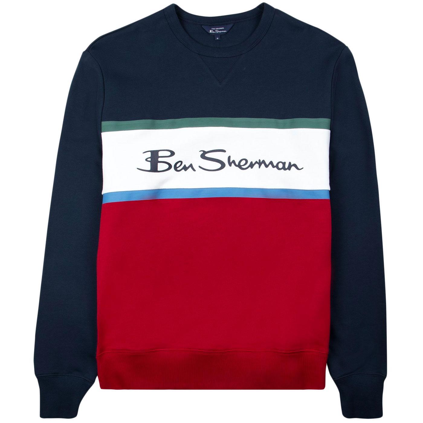 BEN SHERMAN Retro 90s Colour Block Logo Sweatshirt