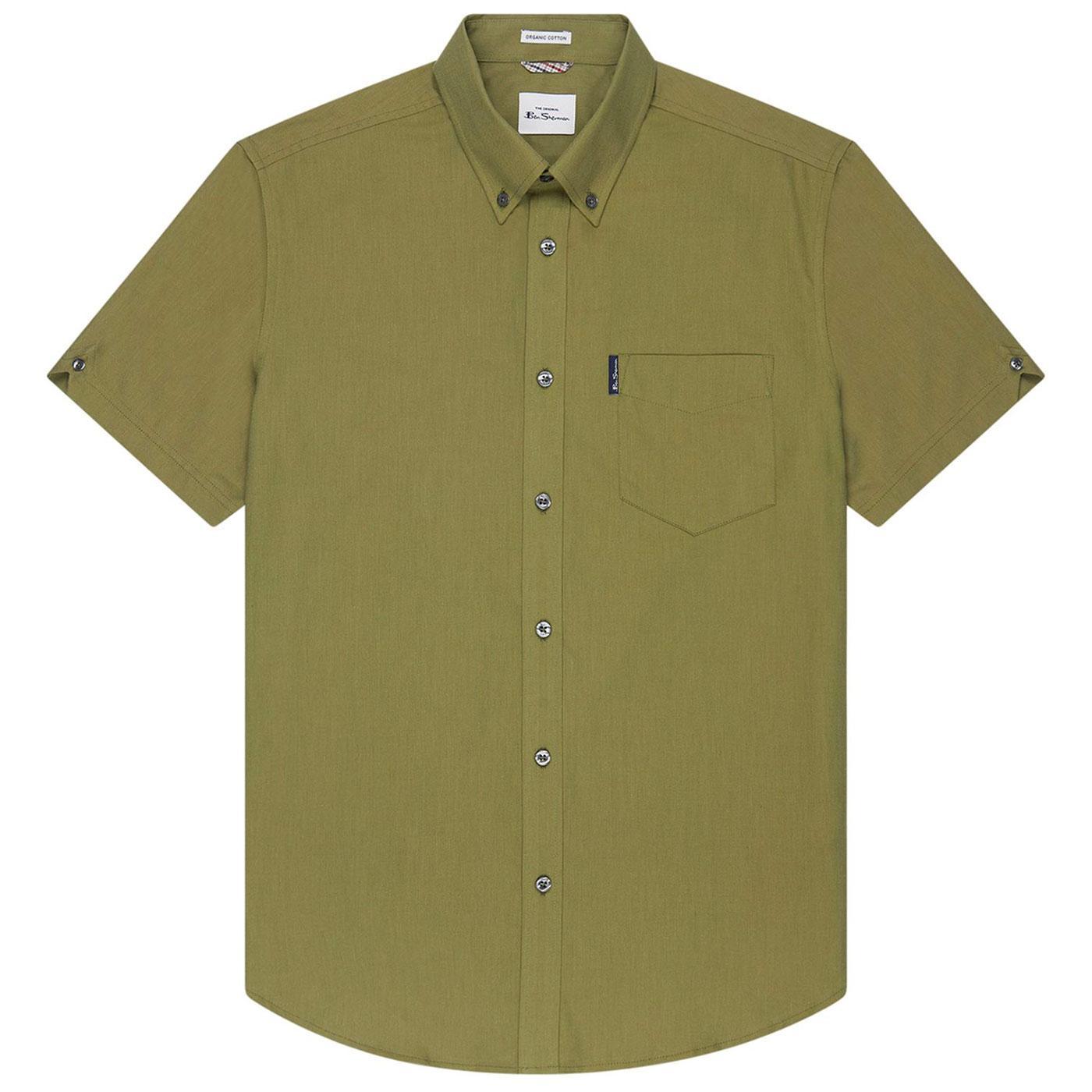 BEN SHERMAN Retro Short Sleeve Oxford Shirt -Olive
