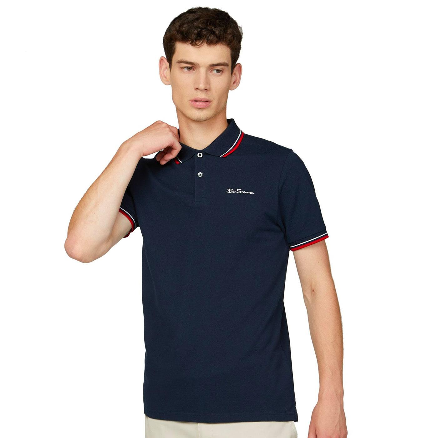 BEN SHERMAN Mod Tipped Signature Polo Top in Navy