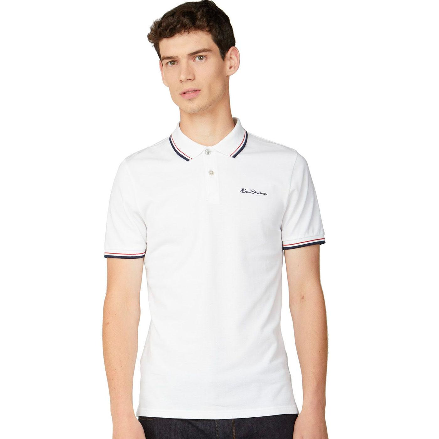 BEN SHERMAN Mod Tipped Signature Polo Top in White