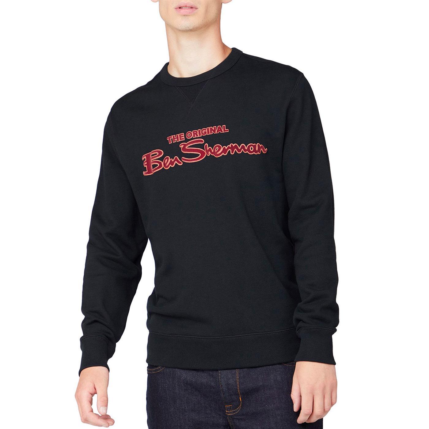 BEN SHERMAN Retro 90s Flock Print Logo Sweatshirt
