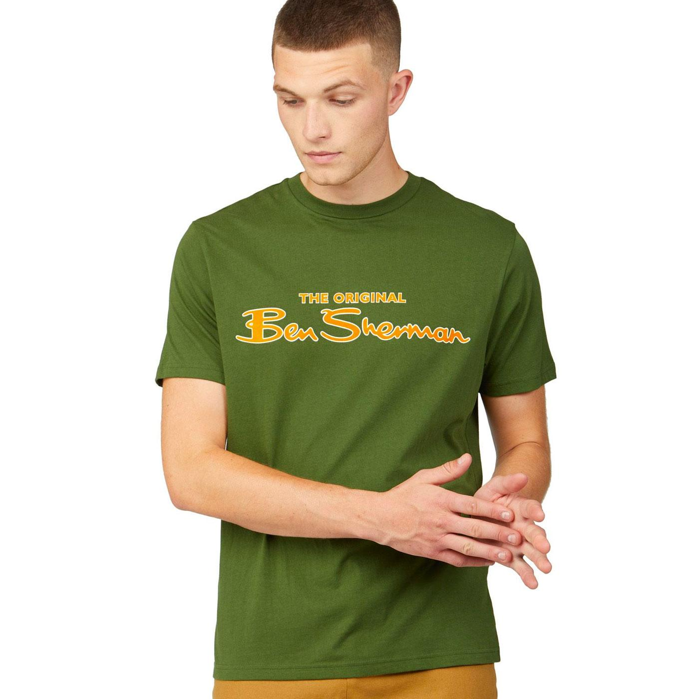 BEN SHERMAN Retro Signature Script T-shirt (Green)