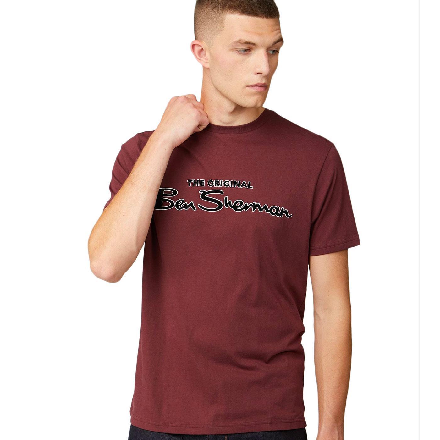 BEN SHERMAN Retro Signature Script T-shirt (Port)