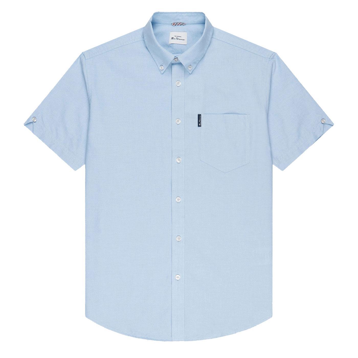 BEN SHERMAN Retro Short Sleeve Oxford Shirt - SKY