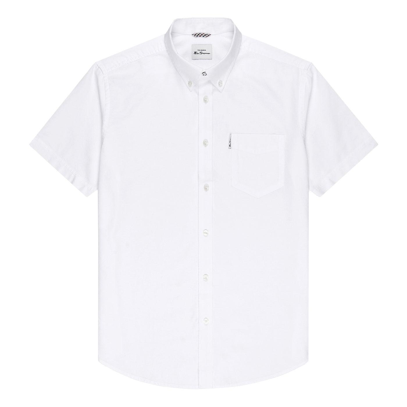 BEN SHERMAN Retro Short Sleeve Oxford Shirt WHITE