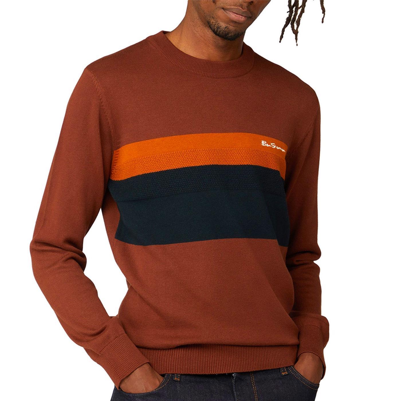 BEN SHERMAN Retro Mod Chest Stripe Knitted Jumper