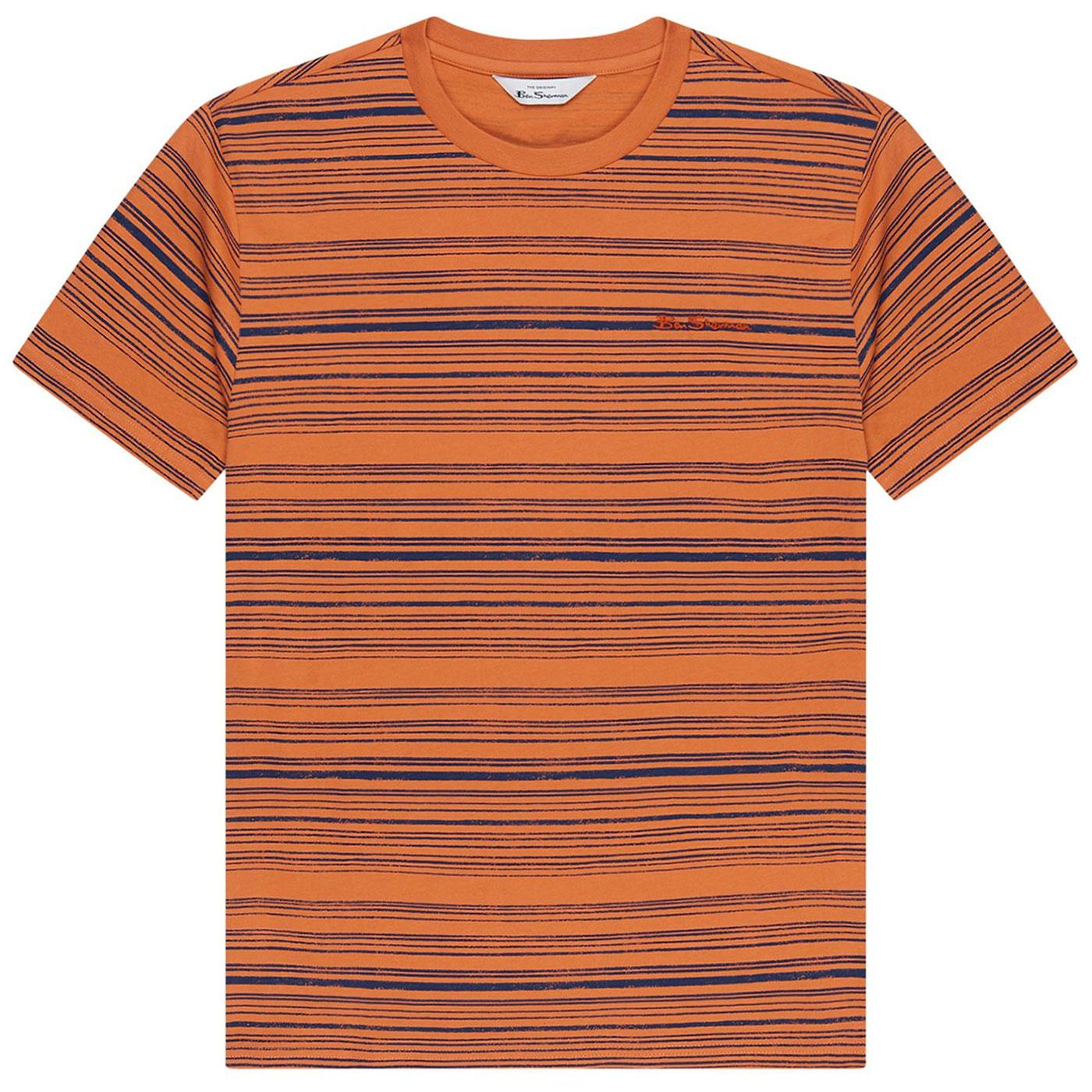 BEN SHERMAN Men's Retro Distressed Stripe Tee A