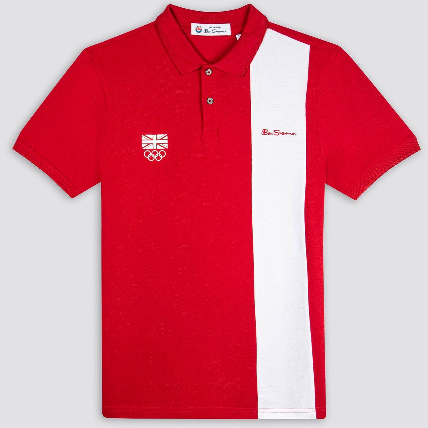 BEN SHERMAN Team GB Block Stripe Mod Polo Top RED