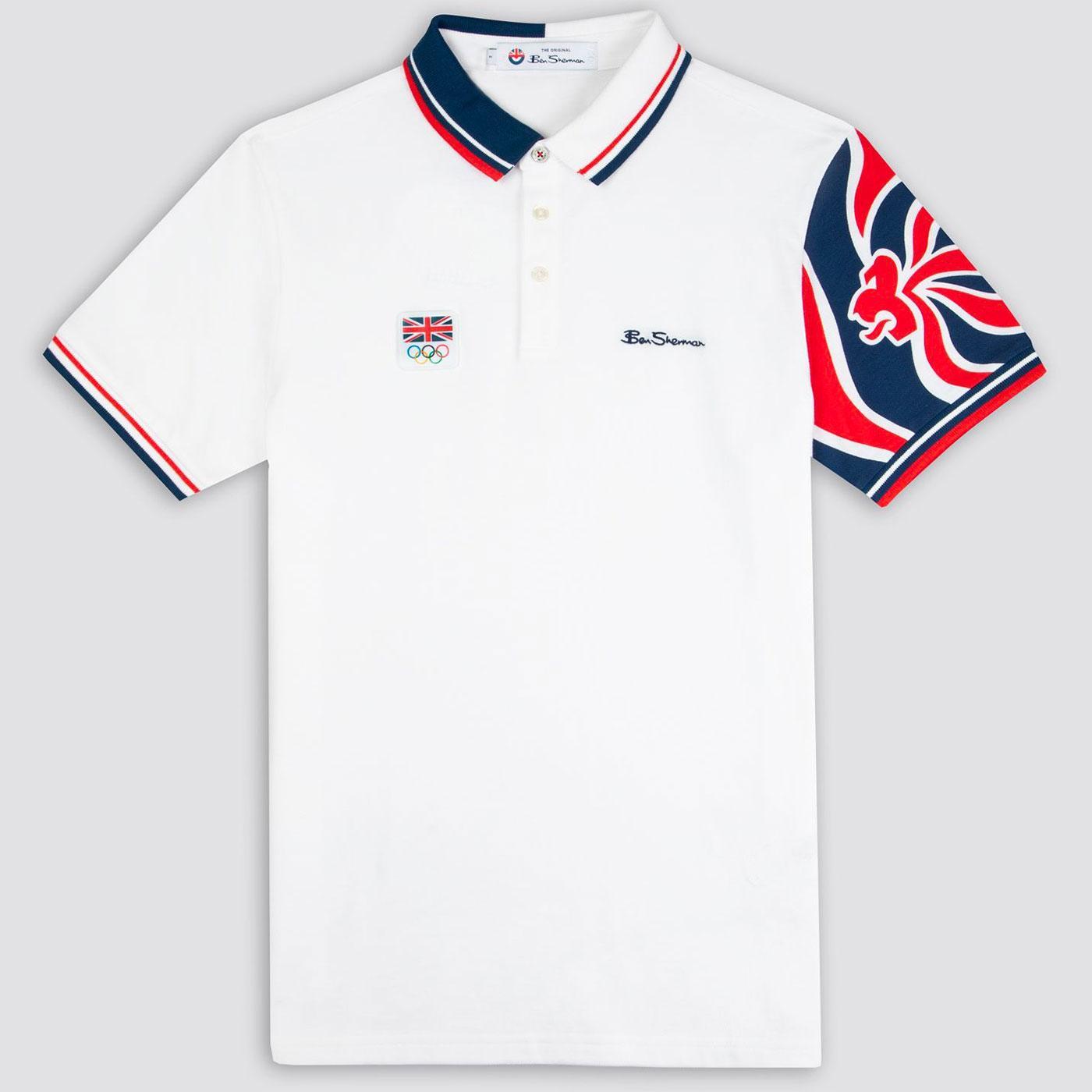 BEN SHERMAN Team GB Lion Logo Polo Shirt (White)