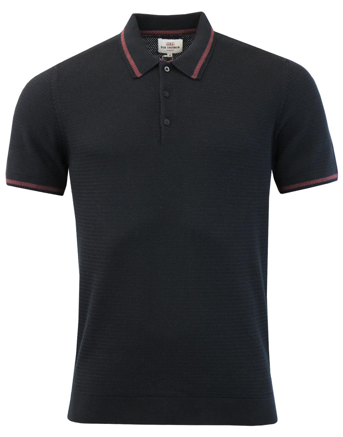 BEN SHERMAN Retro Mod Textured Knit Tipped Polo B