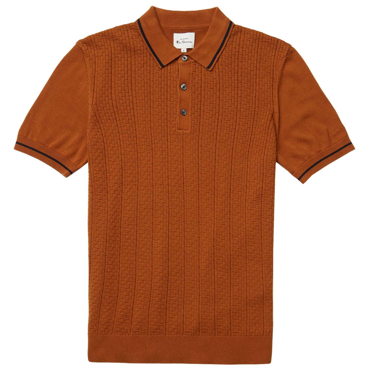 BEN SHERMAN Mod Knitted Texture Front Polo Shirt C