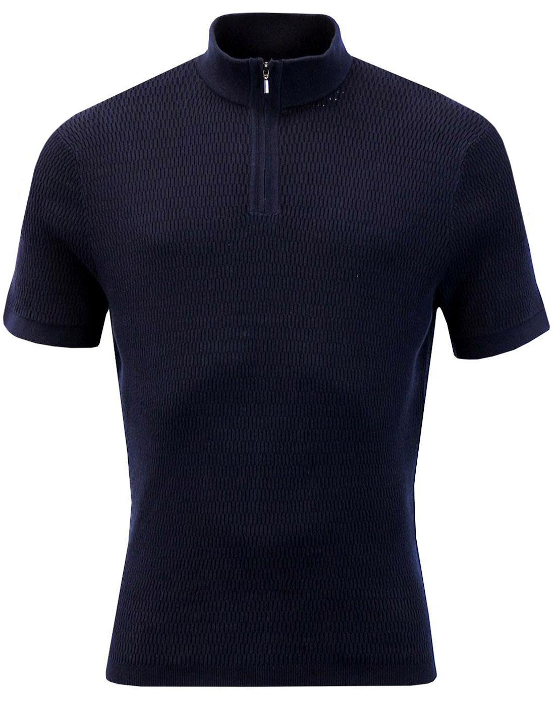 BEN SHERMAN Retro 60s Mod Ribbed Knit Cycling Top