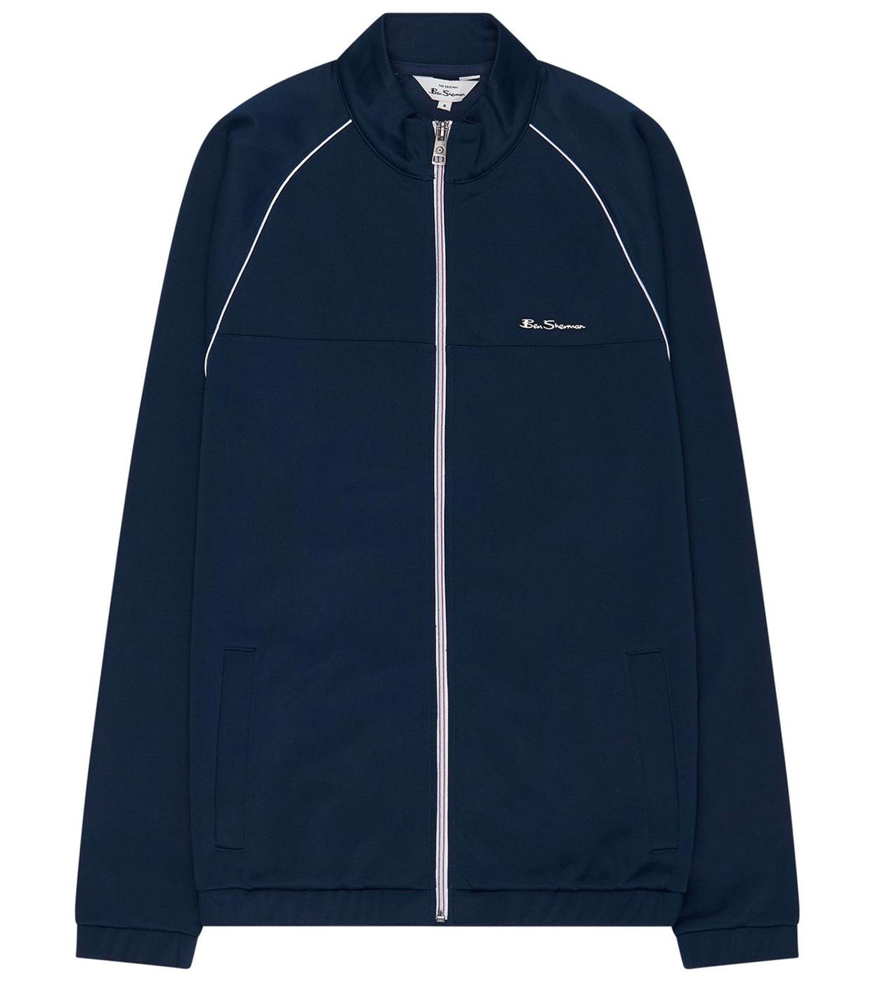 BEN SHERMAN Retro Mod 70s Tricot Track Top in Navy